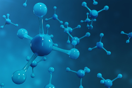 3D rendering molecules. Atoms bacgkround. Medical background for banner or flyer. Molecular structure at the atomic level.