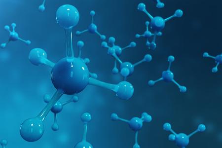 3D rendering molecules. Atoms bacgkround. Medical background for banner or flyer. Molecular structure at the atomic level. Standard-Bild - 102064646