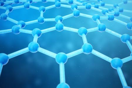 3D-rendering abstracte nanotechnologie zeshoekige geometrische vorm close-up. Grafeen atomaire structuur concept, koolstofstructuur.