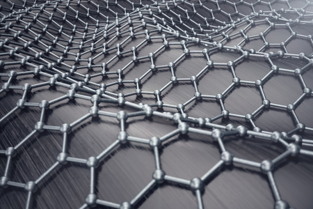 3D rendering abstract nanotechnology hexagonal geometric form close-up. Graphene atomic structure concept, carbon structure.