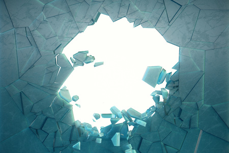 3D illustration wall of ice with a hole in the center of shatters into small pieces. Place for your banner, advertisement. The explosion caused a crack in the wall. Explosion hole in ice cracked wall