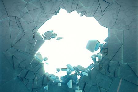 3D-Illustrationswand aus Eis mit einem Loch in der Mitte zerbricht in kleine Stücke. Platz für Ihr Banner, Werbung. Die Explosion verursachte einen Riss in der Wand. Explosionsloch in eisgebrochener Wand Standard-Bild
