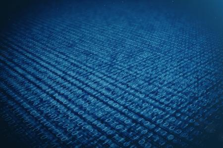 3D illustration binary code on blue background. Bytes of binary code. Concept technology. Digital binary background. Stock Photo