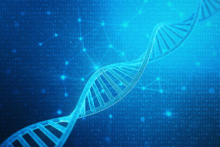 Artifical intelegence DNA molecule. DNA is converted into a binary code. Concept binary code genome. Abstract technology science, concept artifical Dna, 3D illustration