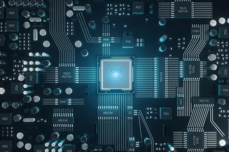 Leiterplatte. Technologischer Hintergrund. CPU-Konzept für zentrale Computerprozessoren. Digitaler Chip des Motherboards, technologischer wissenschaftlicher Hintergrund. Integrierter Kommunikationsprozessor. 3D-Illustration