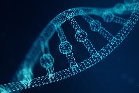 Molécula de ADN de inteligencia artificial. Concepto de genoma de código binario. Ciencia de tecnología abstracta, concepto de ADN artificial. Ilustración 3D