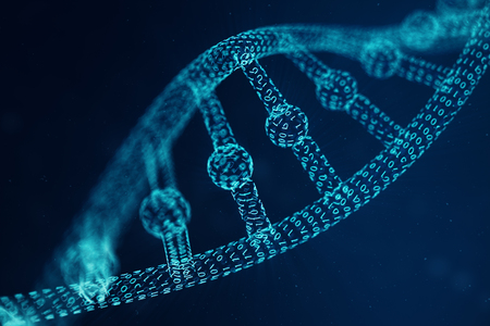 Artificial intelligence DNA molecule. Concept binary code genome. Abstract technology science, concept artificial DNA. 3D illustration Stock Photo