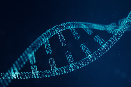 Digital DNA molecule structure. Concept binary code human genome. DNA molecule with modified genes. 3D illustration