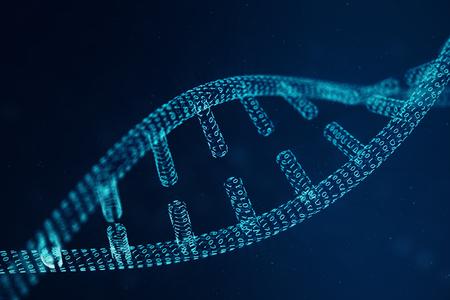 Estructura de la molécula de ADN digital. Concepto de código binario del genoma humano. Molécula de ADN con genes modificados. Ilustración 3D Foto de archivo