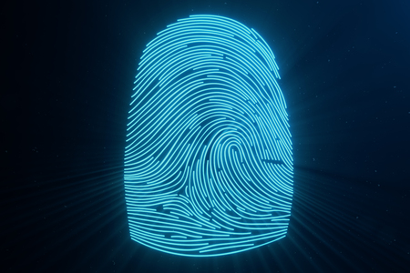 3D illustration Fingerprint scan provides security access with biometrics identification. Concept Fingerprint protection.Curved fingerprint. Concept of digital security Stock Photo