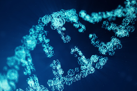 Digital DNA molecule structure. Concept binary code human genome. DNA molecule with modified genes. 3D illustration