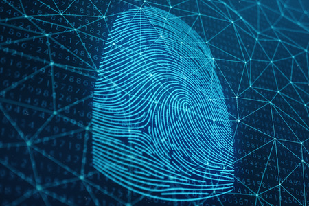 3D-Illustration Der Fingerabdruckscan bietet Sicherheitszugriff mit biometrischer Identifizierung. Konzept Fingerabdruckschutz. Fingerabdruck mit Binärcode. Konzept der digitalen Sicherheit