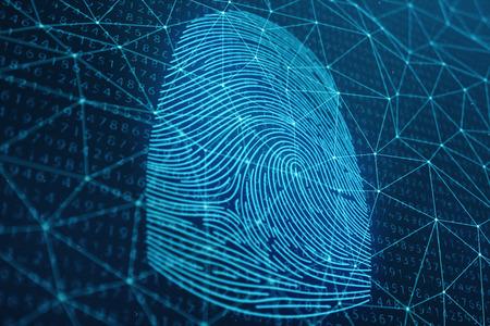 Illustrazione 3D La scansione delle impronte digitali fornisce l'accesso di sicurezza con l'identificazione biometrica. Protezione delle impronte digitali di concetto. Impronta digitale con codice binario. Concetto di sicurezza digitale