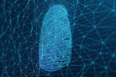 3D illustration Fingerprint scan provides security access with biometrics identification. Concept Fingerprint protection. Finger print with binary code. Concept of digital security Reklamní fotografie