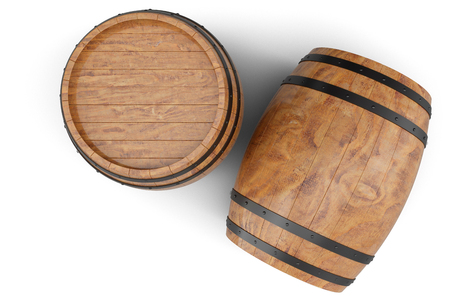 3D Illustration two wooden barrels isolated on white background. Stock Photo