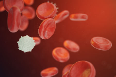 Red and white blood cells releasing neutrophils, eosinophils, basophils, lymphocytes, are the cells of the immune system. 3D illustration Stock Photo