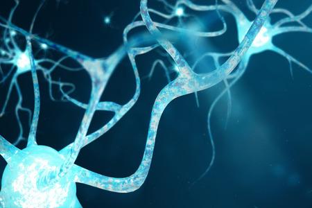 Illustrazione concettuale delle cellule del neurone con nodi di collegamento incandescente. Neuroni nel cervello con effetto di messa a fuoco. Cellule sinapsi e neuronali che inviano segnali chimici elettrici. Illustrazione 3D