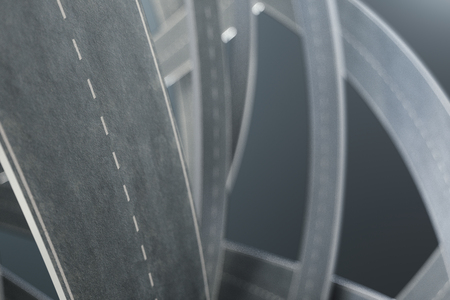Tangled roads, on grey background. Abstract road knot. Concept travel, transportation. 3D illustration