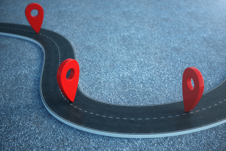Road way location Infographic with pin pointers. Road way with red pointers. 3D illustration
