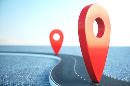 Road way location Infographic with pin pointers. Road way with red pointers. Road way on cloudy blue sky background. 3D illustration 스톡 콘텐츠
