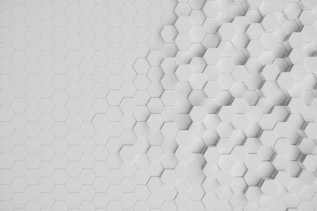 3D illustration white geometric hexagonal abstract background. Surface hexagon pattern, hexagonal honeycomb. Imagens