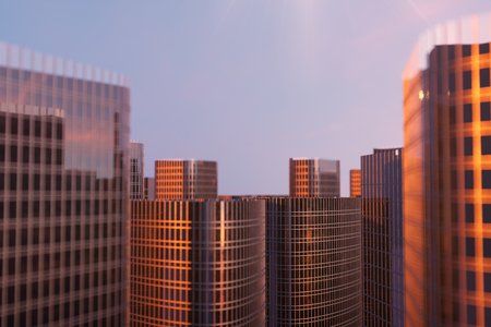 3D Illustration Skyscrapers from a low angle view. Architecture glass high buildings. skyscrapers in a finance district