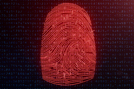 3D illustration Fingerprint scan provides security access with biometrics identification. Concept fingerprint hacking, threat. Finger print with binary code. Concept of digital security. Imagens