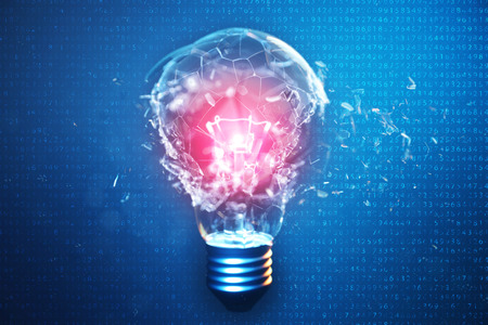 3D Illustration Exploding light bulb on a blue background, with concept creative thinking and innovative solutions. Red glow in the center concept virus. Binary code