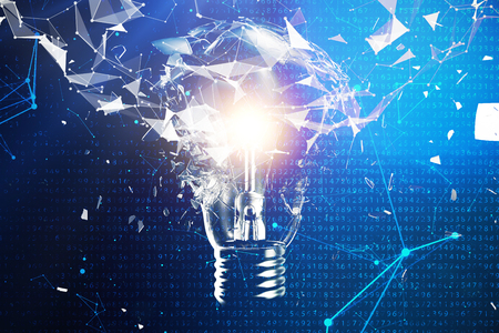 3D illustration exploding light bulb on a blue background, concept creative thinking and innovative solutions. Network connection lines and dots. Innovative idea. Banco de Imagens