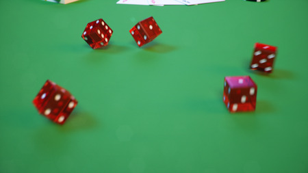 Concept Gambling template with flying dice. Red dice. 3D illustration Stok Fotoğraf