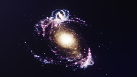 3D illustration galaxy in deep space. Spiral galaxy consisting of star dust, nebula of gas. Concept of deep space travel. Scientific concept. Elements of this image furnished by NASA Stock Photo