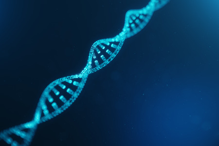 Artifical intelegence DNA molecule. DNA is converted into a digital code. Digital code genome. Abstract technology science, concept artifical Dna. DNA consisting particle, dots, 3D illustration