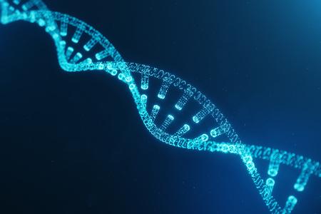 Digital DNA molecule, structure. Concept digital code human genome. DNA molecule with modified genes. DNA consisting particle, dots, 3D illustration