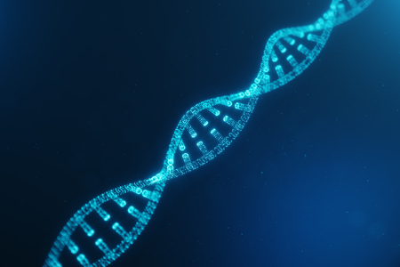Artifical intelegence DNA molecule. Concept digital code genome. Abstract technology science, DNA consisting particle, dots, 3D illustration