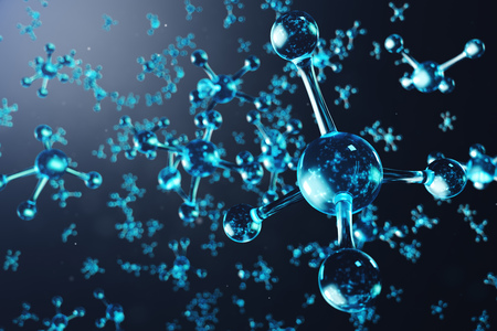 3D illustration molecule structure. Scientific medical background with atoms and molecules. Scientific background for your banner, flyer, template, text. Molecule consists of atoms chemical element