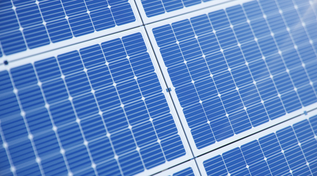 3D illustration solar panels in the sea or ocean. Alternative energy. Concept of renewable energy. Ecological, clean energy. Solar panels, photovoltaic cells against the blue sky.