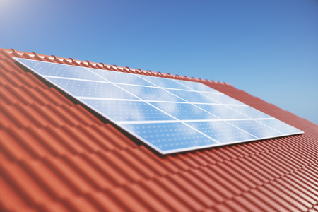 3D illustration solar panels on a red roof of a house. Solar panels with reflection beautiful blue sky. Concept of renewable energy. Ecological, clean energy. Green energy. Photovoltaic Solar cells