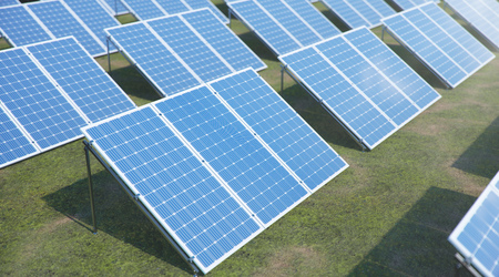 3D illustration Solar Panels. Alternative energy. Concept of renewable energy. Ecological, clean energy. Solar panels, photovoltaic with reflection beautiful blue sky. Green energy. Solar cells
