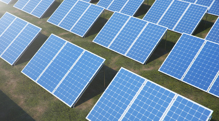 3D illustration Solar Panels. Alternative energy. Concept of renewable energy. Ecological, clean energy. Solar panels, photovoltaic with reflection beautiful blue sky. Photovoltaic Solar cells