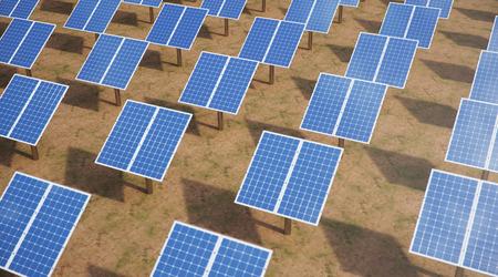 3D illustration Solar Panels. Alternative energy. Concept of renewable energy. Ecological, clean energy. Solar panels, photovoltaic with reflection beautiful blue sky. Solar panels in the desert Reklamní fotografie