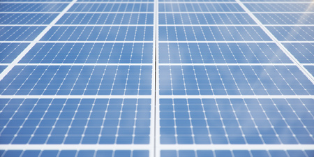 3D illustration solar panels background. Solar panels, photovoltaic panels with reflection beautiful blue sky. Concept of renewable energy. Ecological, clean energy. Eco, green energy. Solar cells. Reklamní fotografie