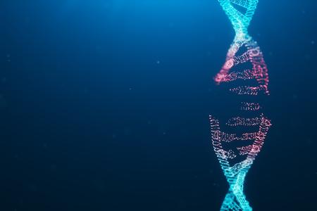 3D illustration Virus DNA molecule, structure. Concept destroyed code human genome. Damage DNA molecule. Helix consisting particle, dots. DNA destruction due to gene mutation or experiment. Stock Photo