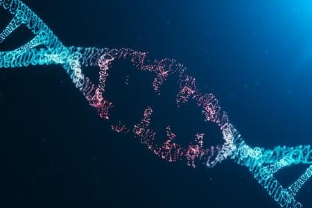 Ilustración 3D Molécula de ADN del virus, estructura. Concepto destruyó el código del genoma humano. Dañar la molécula de ADN. Hélice que consiste en partículas, puntos. Destrucción del ADN debido a una mutación genética o un experimento.