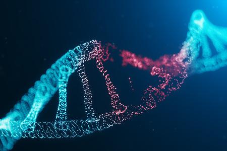 3D illustration Virus DNA molecule, structure. Concept destroyed code human genome. Damage DNA molecule. Helix consisting particle, dots. DNA destruction due to gene mutation or experiment. Фото со стока