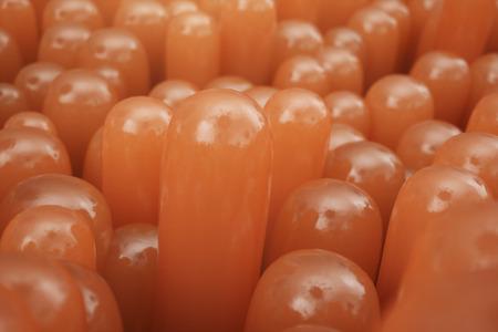 3D Rendering close-up Intestinal villi. Intestine lining. Microscopic villi and capillary. Human intestine. Concept of a healthy or diseased intestine. Standard-Bild - 122201639