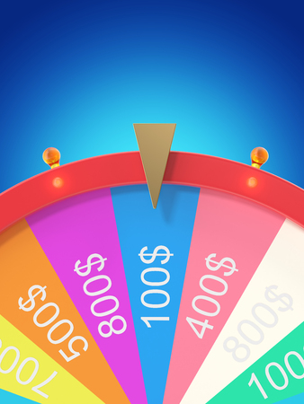 Colorful wheel of luck or fortune. Realistic spinning fortune wheel. Wheel fortune isolated on blue tint background. 3d illustration