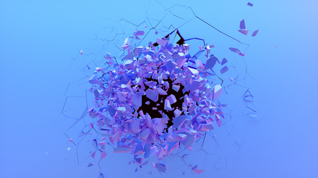 Broken wall dark pastel-violet color. Wall shatters into thousands of small pieces. Abstract destroyed background. Explosion, destruction, broken dark pastel-violet color wall, 3D illustration