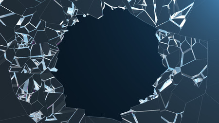 3D illustration wall of glass with a hole in the center of shatters into small pieces. Place for your banner, advertisement. The explosion caused a crack in the wall. Explosion hole in ice cracked wall Stock Photo