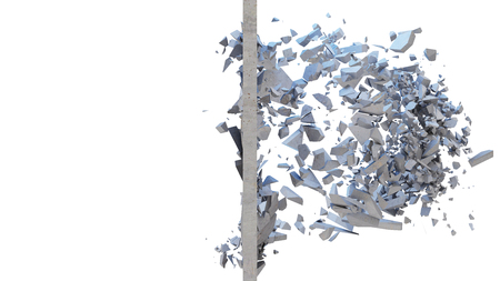 Concrete wall shatters into thousands of small pieces. Cracked earth, abstract background. Explosion, destruction, broken, concrete wall. Isolated on white background, 3D Rendering Reklamní fotografie