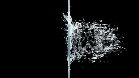 Abstract broken glass into pieces. Wall of glass shatters into small pieces. Place for your banner, advertisement. Explosion caused the destruction of glass. 3d illustration Stock fotó